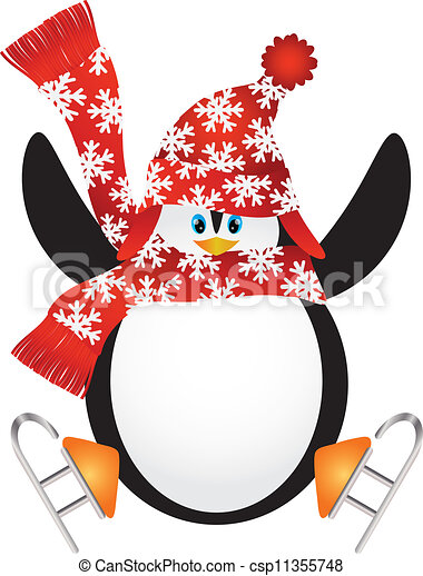 penguin with santa hat ice skating illustration christmas eps rh canstockphoto com