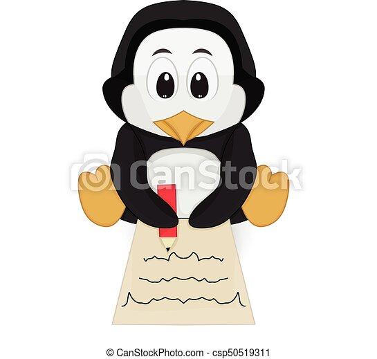 penguin writing pose - csp50519311