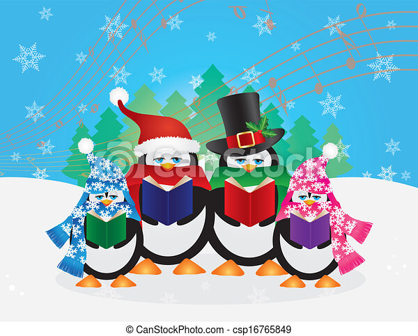 penguins christmas carolers snow scene illustration eps vector rh canstockphoto com christmas scenes clipart free christmas scene clipart