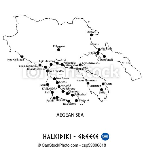 Peninsula Of Halkidiki In Greece Map On White Background Peninsula