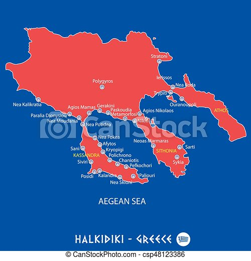 Peninsula of halkidiki in greece red map illustration in vector
