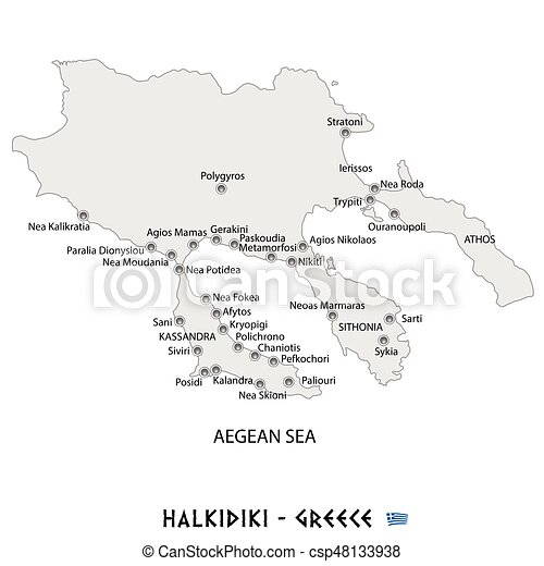 Peninsula Of Halkidiki In Greece White Map Illustration Peninsula