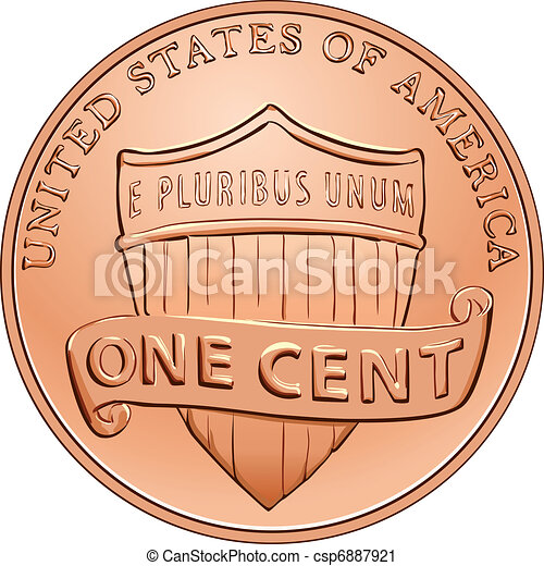 Una moneda americana de un centavo, Penny - csp6887921