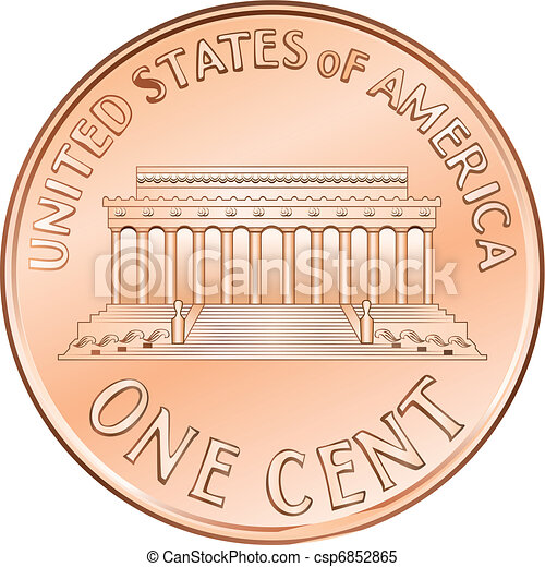 Una moneda americana de un centavo, Penny - csp6852865
