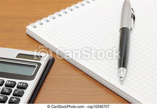 penna, blocco note, calcolatore - csp10246707