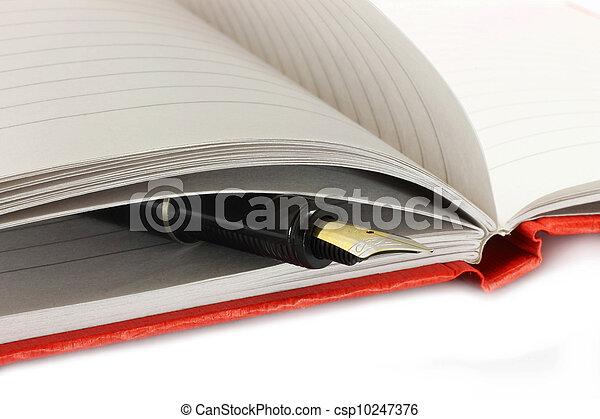 penna fontana, blocco note, aperto - csp10247376