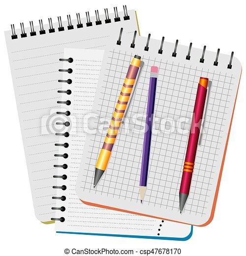 penna, tre, penna, matita, viola, rosso giallo, quaderni - csp47678170