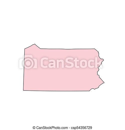 Pennsylvania map isolated on white background silhouette ...