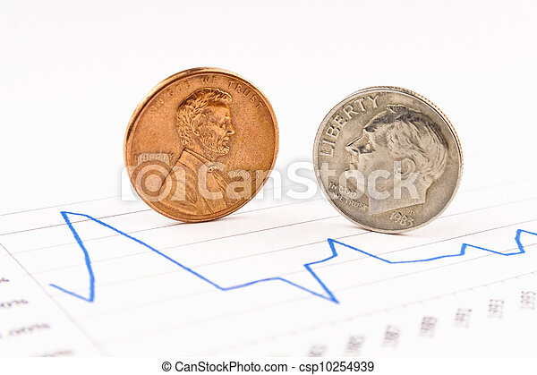 Penny and dime coins standing on chart - csp10254939