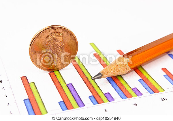Penny coin with pencil standing on chart - csp10254940