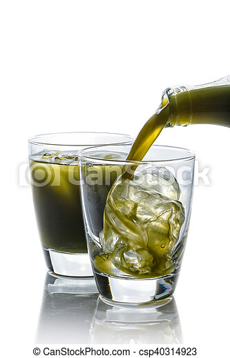 Pennywort or asiatic herbal drink in glass isolated on white background - csp40314923