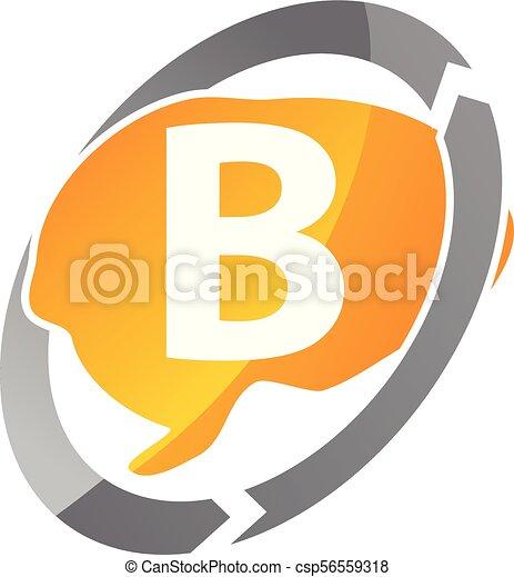 pensée, b, lettre, créatif - csp56559318