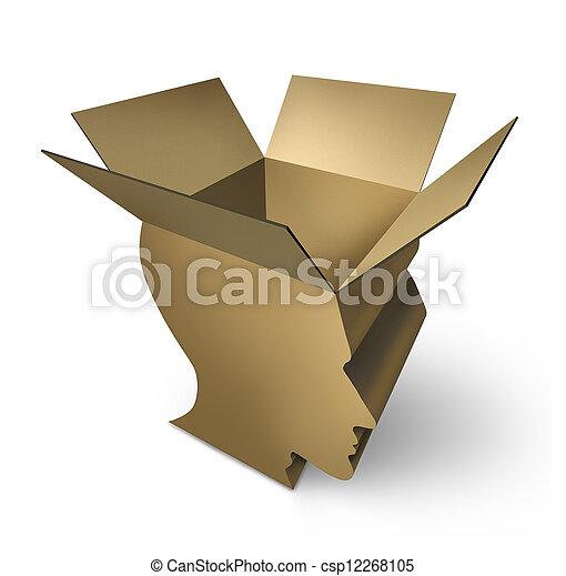 pensée, boîte, dehors - csp12268105