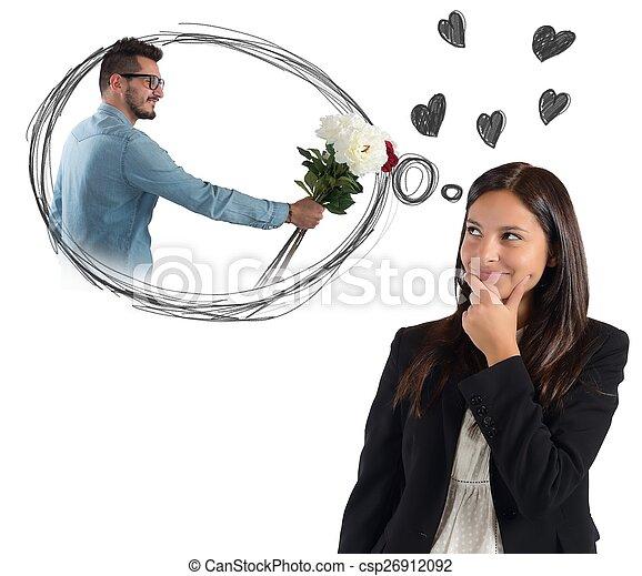 pensée, femme affaires, sur, petit ami - csp26912092