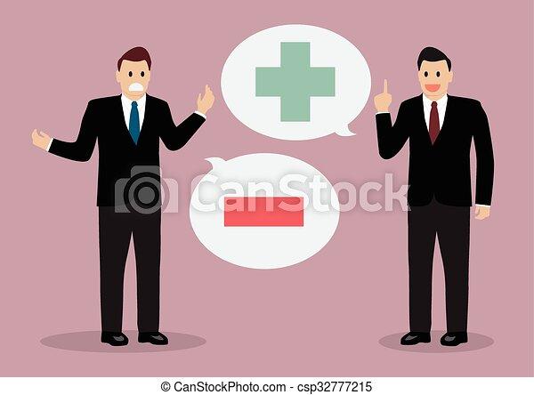 pensée, positif, homme affaires, négatif, deux - csp32777215
