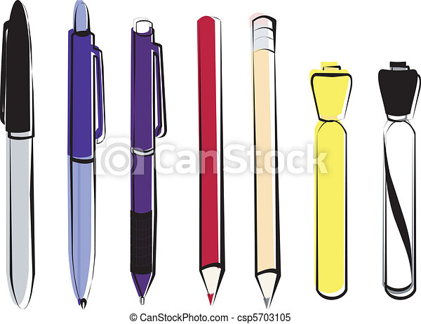 Pens, Pencils and Markers - csp5703105