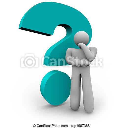 Signo de interrogación y pensador - csp1907368