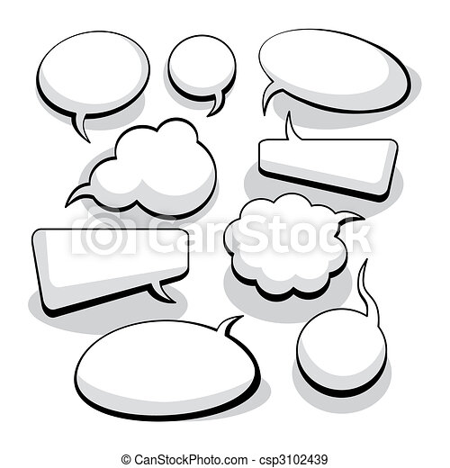 pensamento, bolhas, fala, (vector) - csp3102439
