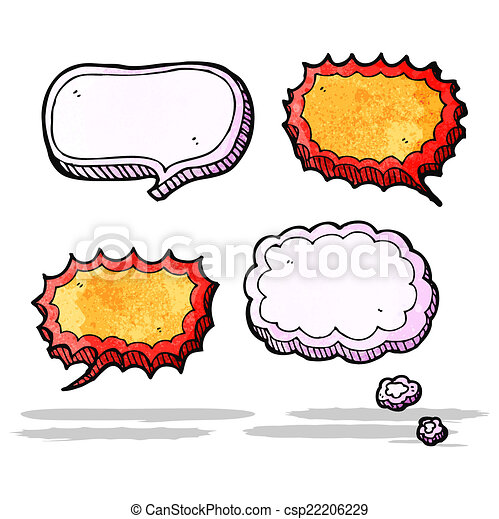 pensamento, fala, bolhas, nuvens, caricatura - csp22206229