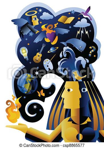 pensamento, imaginativo, ilustração - csp8865577