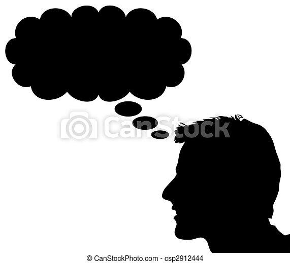 Cabeca La Pessoa Pensamentos Onde Nuvem