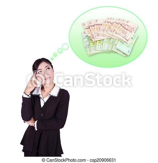 Mujer de negocios pensando en el dinero - csp20906631