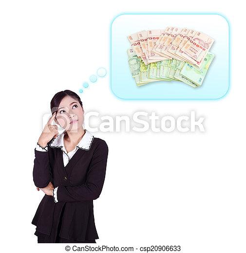 Mujer de negocios pensando en el dinero - csp20906633