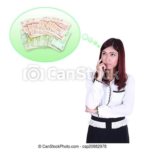 Mujer de negocios pensando en el dinero - csp20882978
