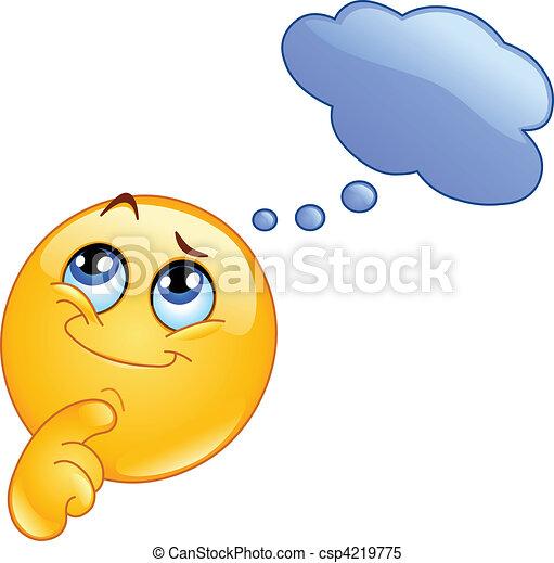Pensando en emoticon - csp4219775
