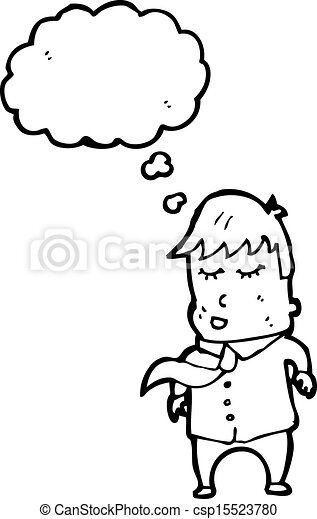 Un hombre de cartón vestido con burbujas de pensamiento - csp15523780