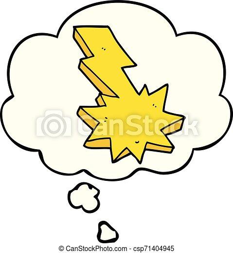 Un rayo de cartón cayó y pensó burbuja - csp71404945
