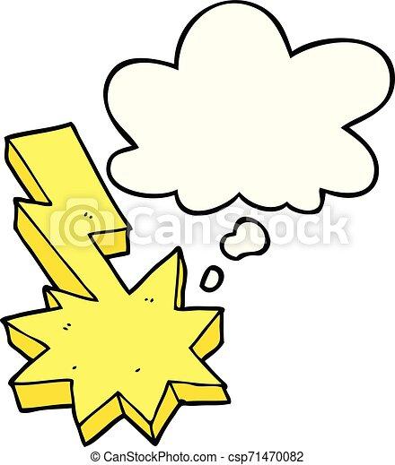 Un rayo de cartón cayó y pensó burbuja - csp71470082