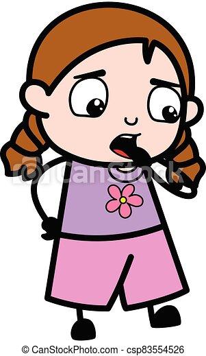 pensando, caricatura, menina, preocupado - csp83554526
