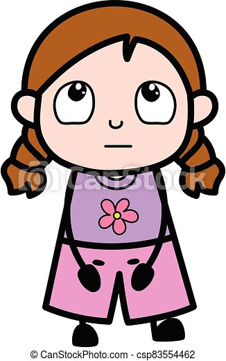 pensando, caricatura, menina - csp83554462