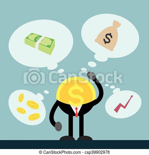 pensando, dinheiro, moeda - csp39902978