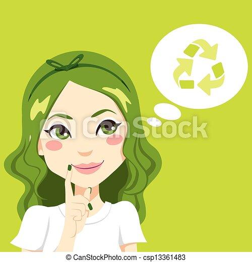 pensando, menina, verde - csp13361483