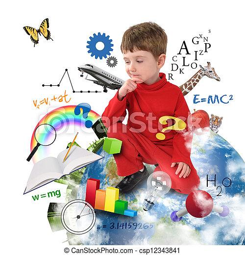 pensando, menino, escola, educação, terra - csp12343841