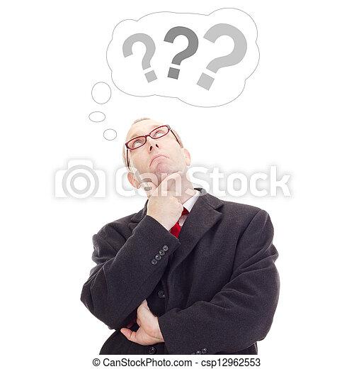 pensando, pessoa, aproximadamente, pergunta, negócio - csp12962553