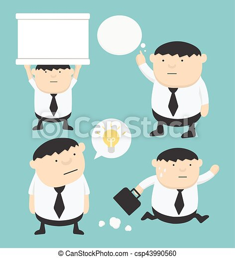 Dibujos animados gordos de negocios sosteniendo señales, Piensa, Corre, caja de texto - csp43990560