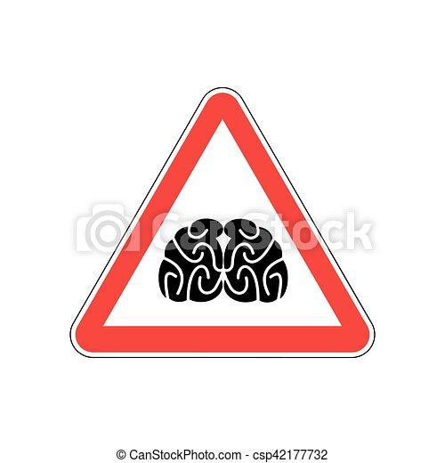 Pensar, triángulo, peligro, cerebros, atención, símbolo., muestra ...
