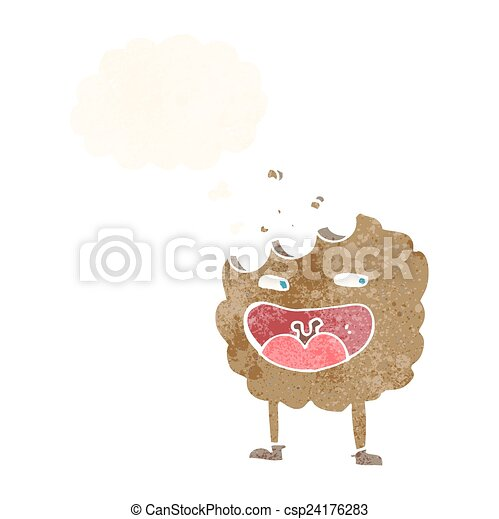 pensiero, carattere, bolla, cartone animato, biscotto - csp24176283