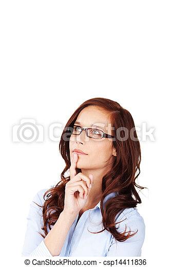 pensieroso, donna, giovane, dotto - csp14411836