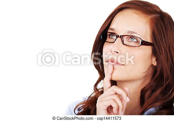 pensieroso, donna, malinconico, giovane - csp14411573