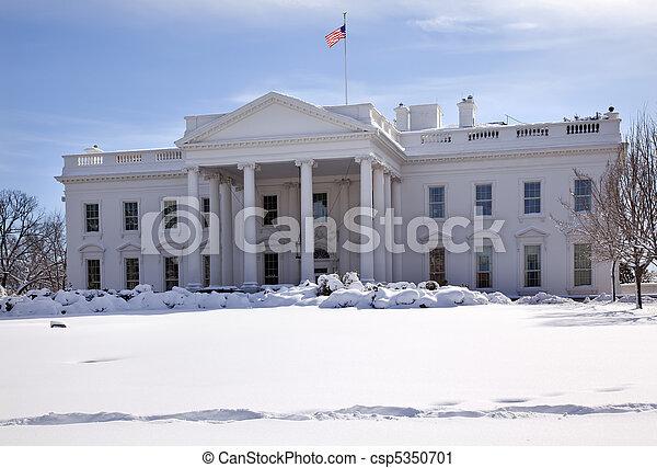 Bandera blanca de nieve Pennsylvania ave Washington DC - csp5350701