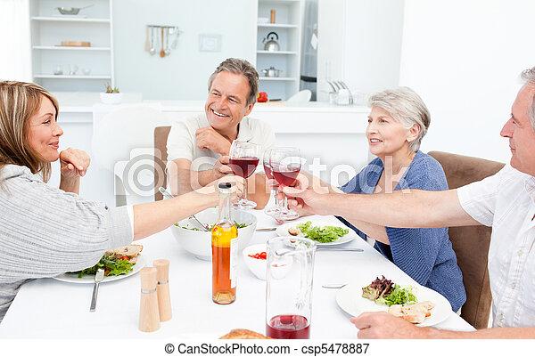 pensionato, tostare, amici, insieme - csp5478887