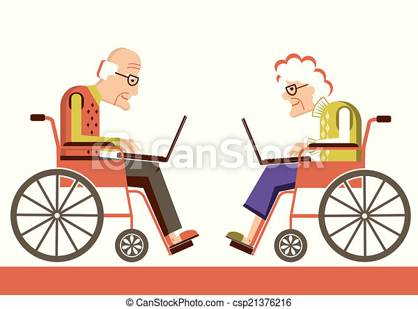 Pensioners in a wheelchairs with laptops - csp21376216