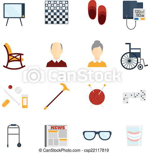 Pensioners life icons flat - csp22117819