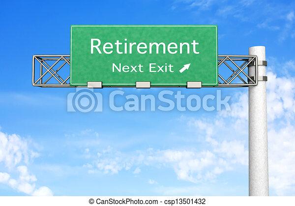 pensionierung, -, landstraße zeichen - csp13501432