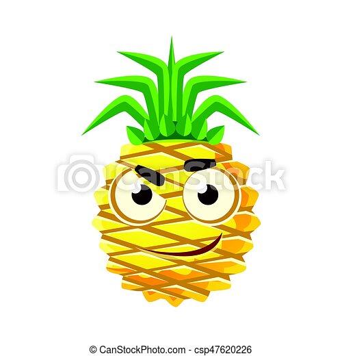 Pensive pineapple face. cute cartoon emoji character ...
