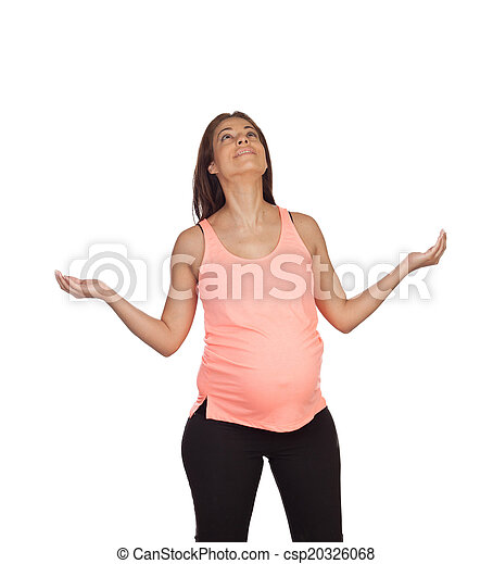 pensive prengnant woman with outstretched arms looking up isolated